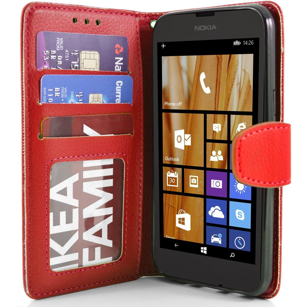 Nokia Lumia 630 PU Leather Wallet Case - Red