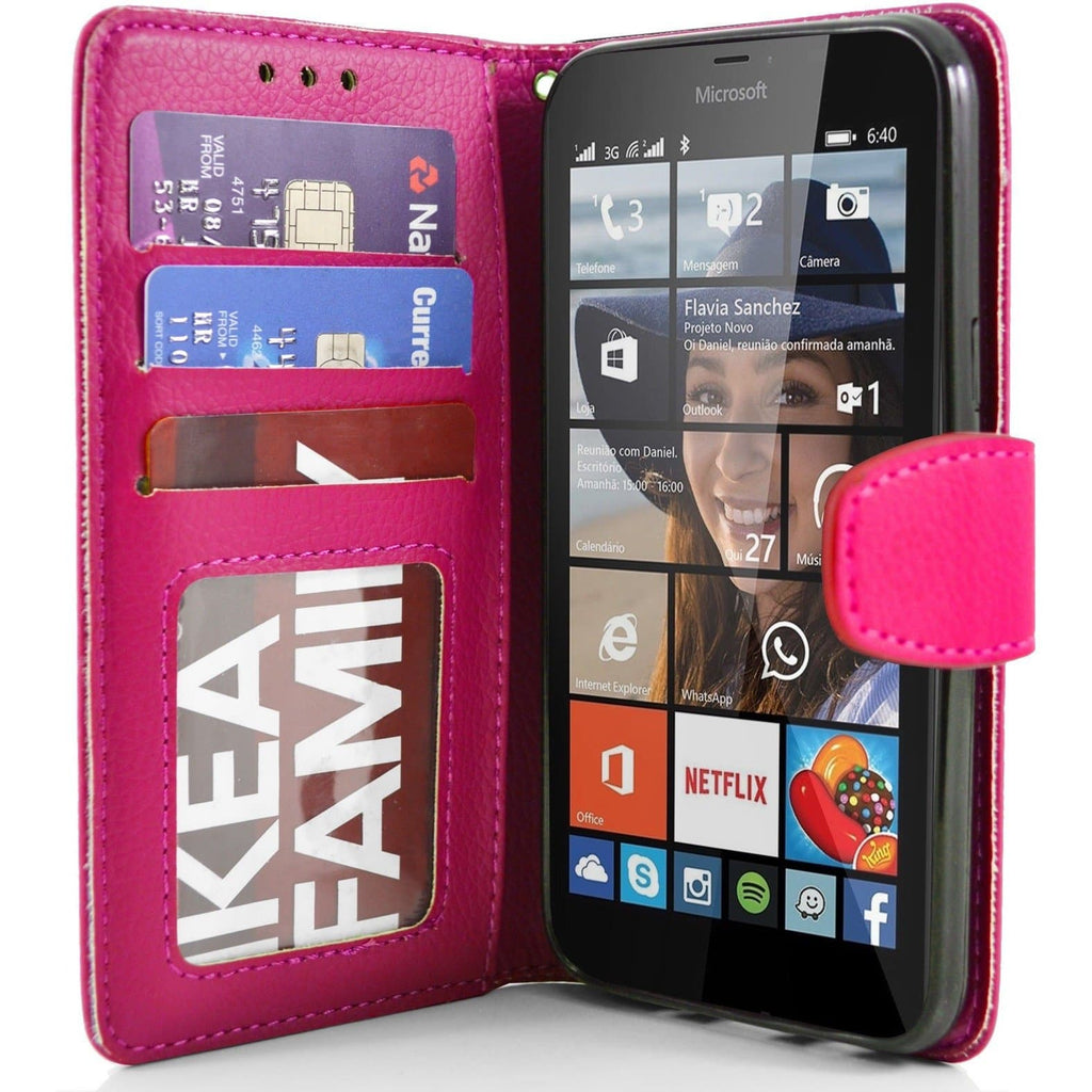 Pink Microsoft Lumia 640XL PU Leather Wallet Case