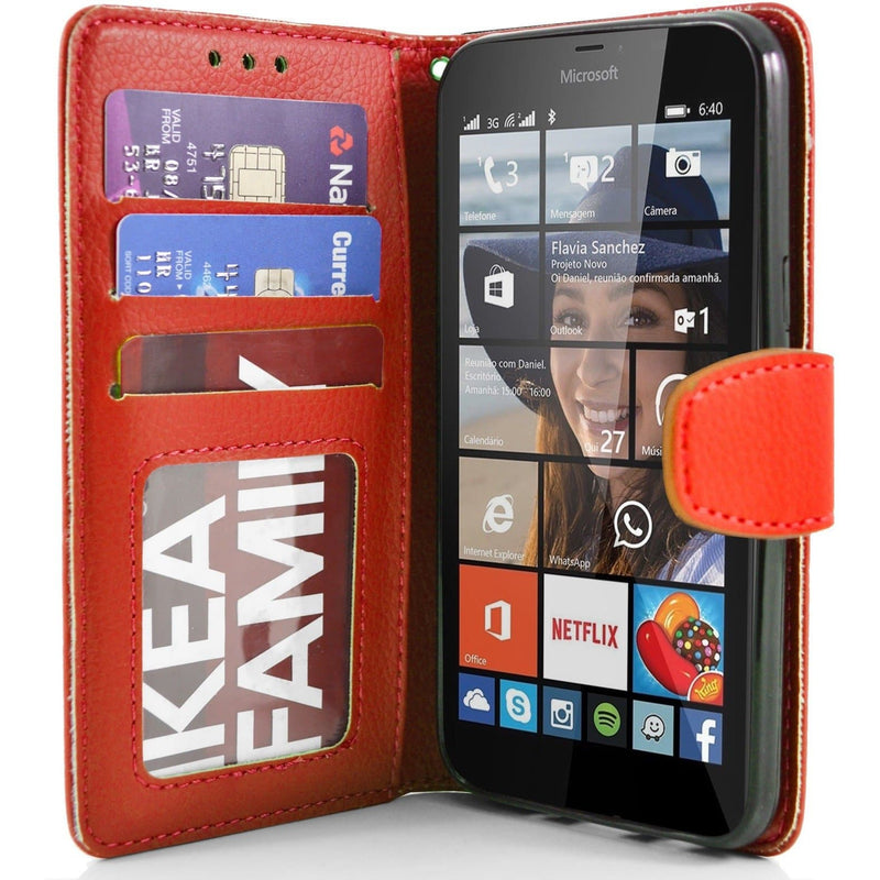Red Microsoft Lumia 640XL PU Leather Wallet Case