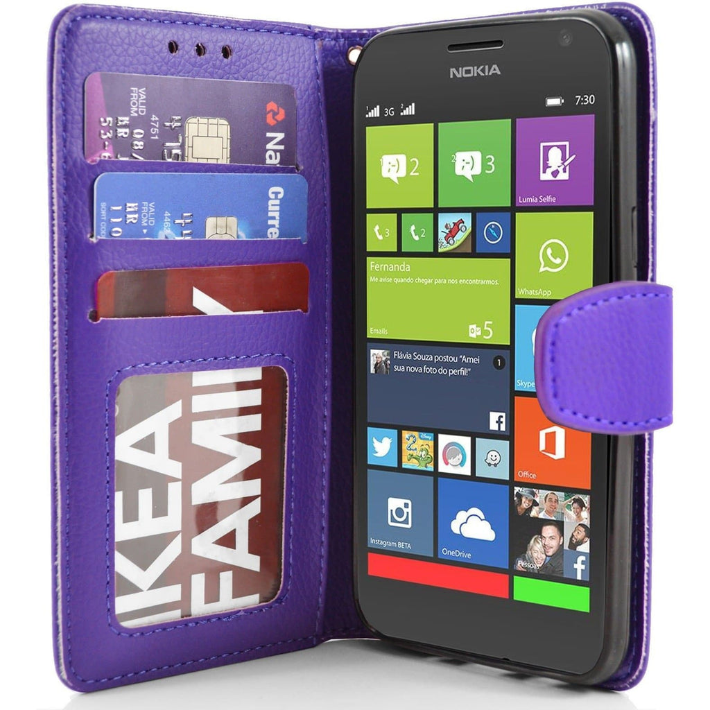 Nokia Lumia 730 PU Leather Wallet Case - Purple
