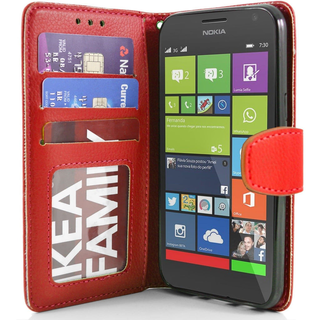 Nokia Lumia 730 PU Leather Wallet Case - Red
