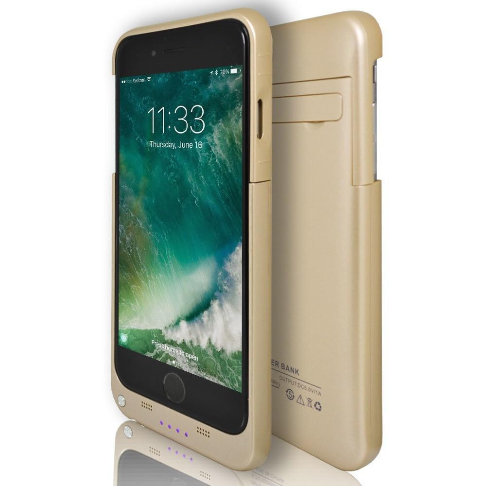 iPhone 8- Rechargeable Battery Case 3200 Mah With Stand Gold