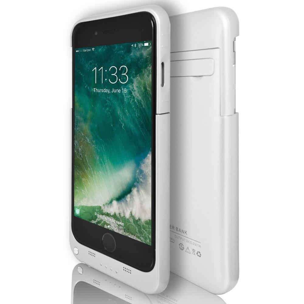iPhone 6 Plus \ 6S Plus- Rechargeable Battery Case 4800 Mah With Stand - White