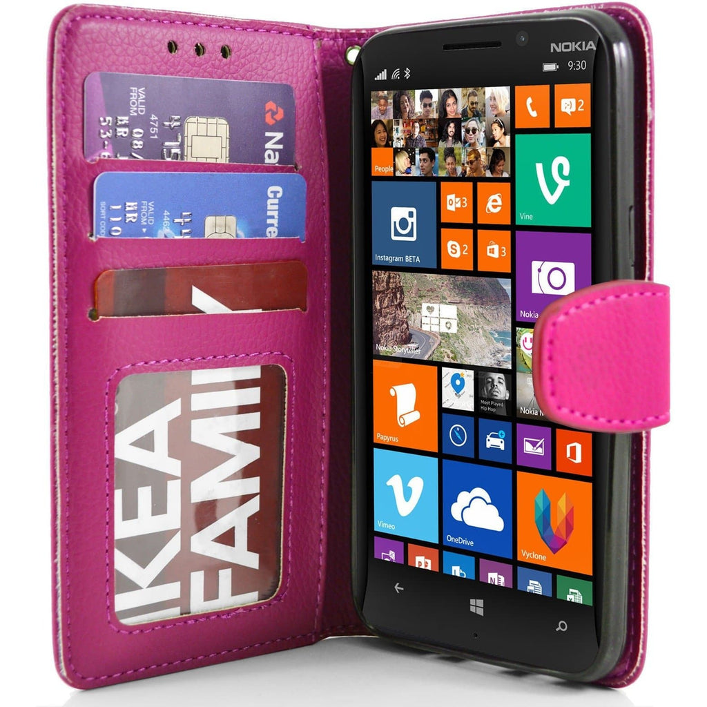 Nokia Lumia 930 PU Leather Wallet Case - Pink