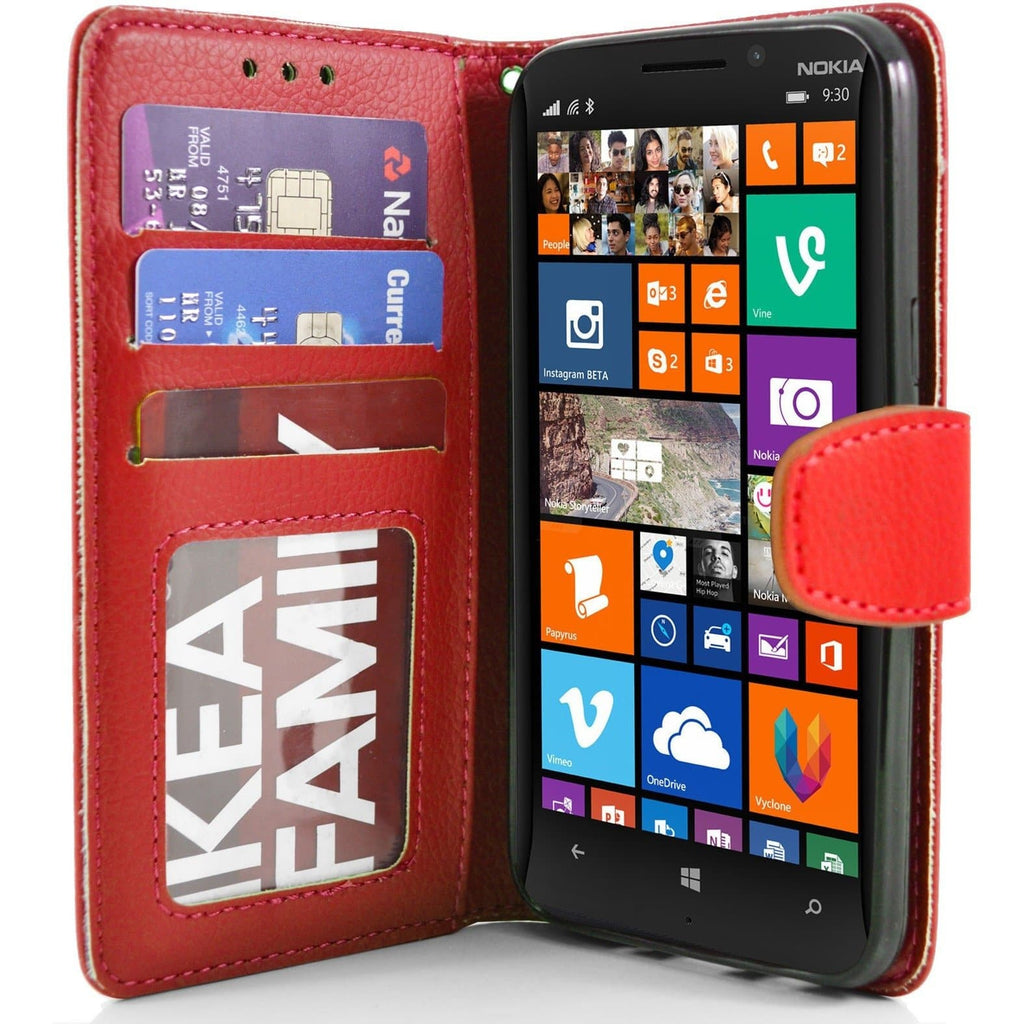 Nokia Lumia 930 PU Leather Wallet Case - Red