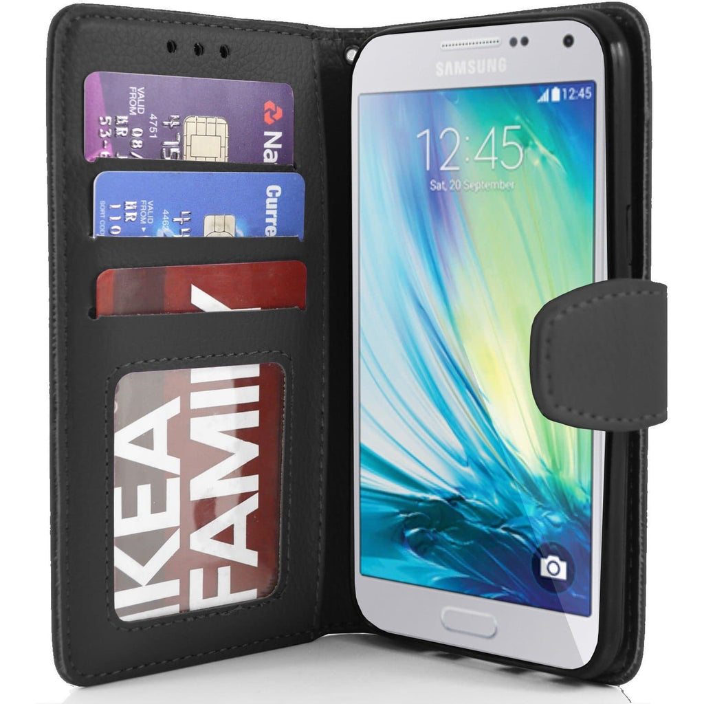 Samsung Galaxy A5 PU Leather Wallet Case - Black