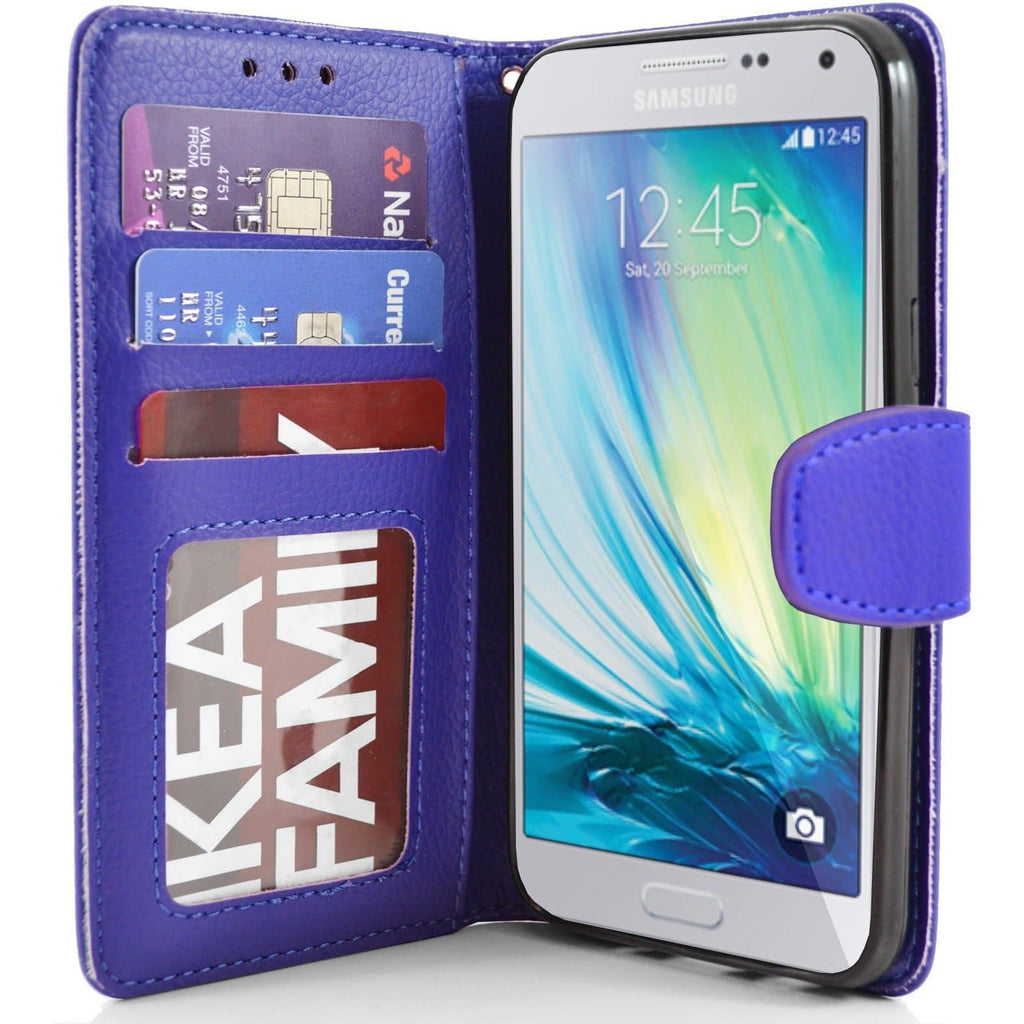 Samsung Galaxy A5 PU Leather Wallet Case - Blue