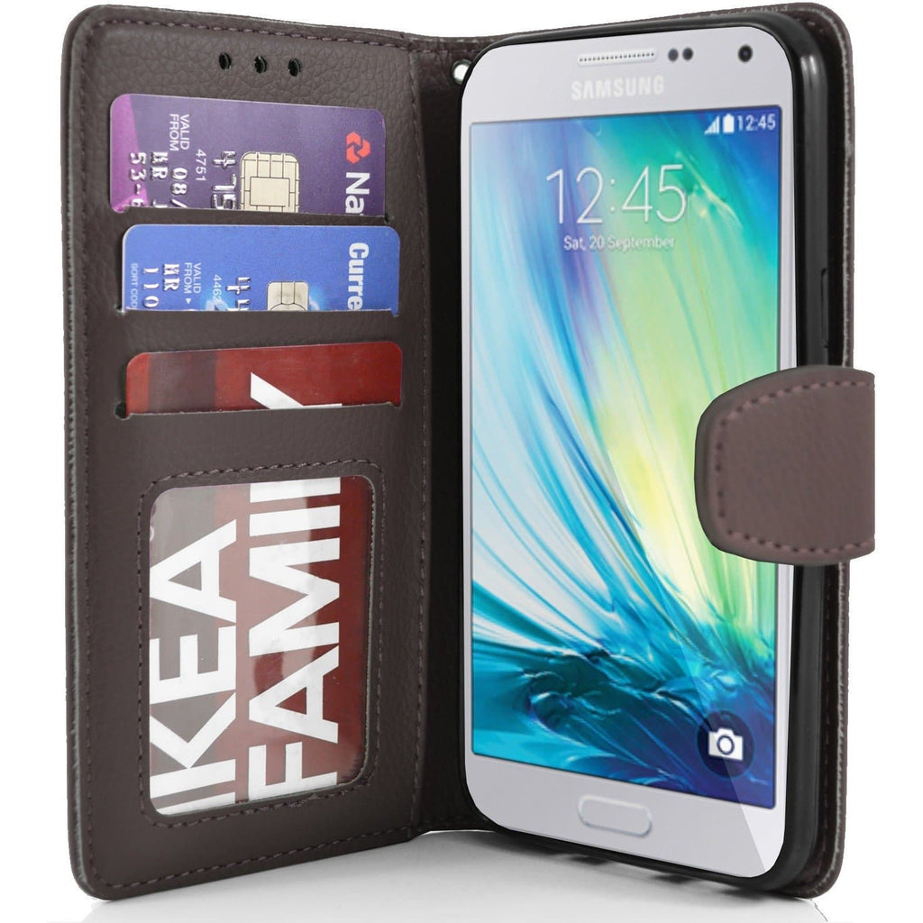 Samsung Galaxy A5 PU Leather Wallet Case - Brown