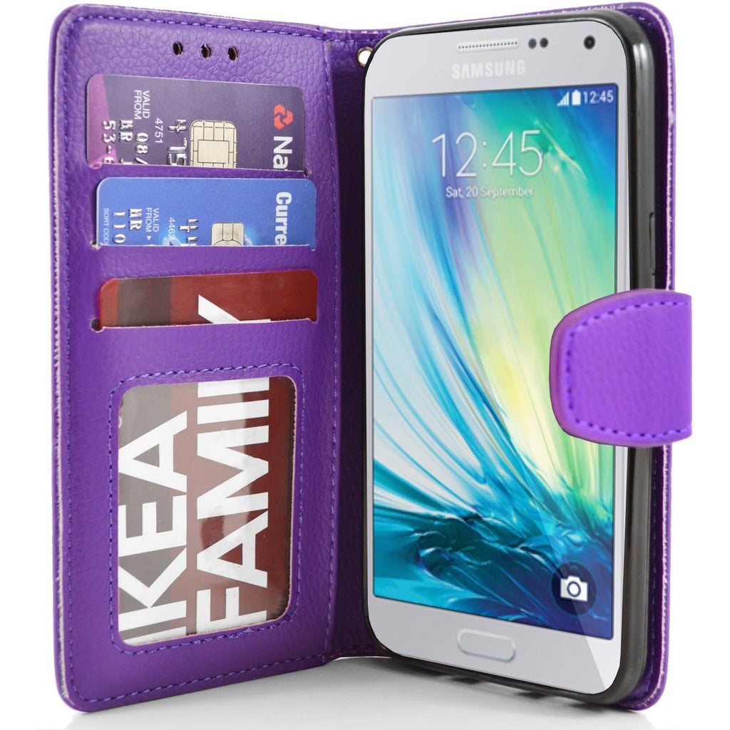 Samsung Galaxy A5 PU Leather Wallet Case - Purple