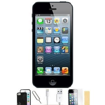 Apple iPhone 5 (16GB) - Black - Factory Unlocked Grade A Silicone Case Bundle