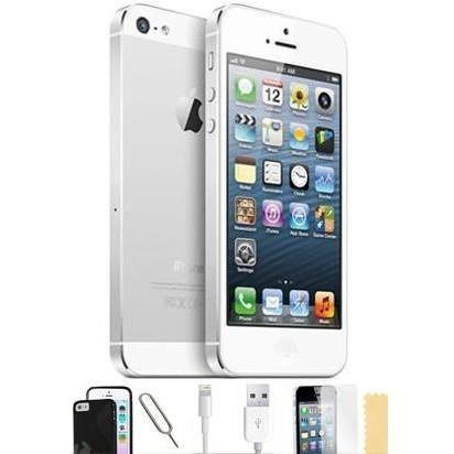 Apple iPhone 5 - (16GB) White Factory Unlocked Grade A Silicone Case Bundle