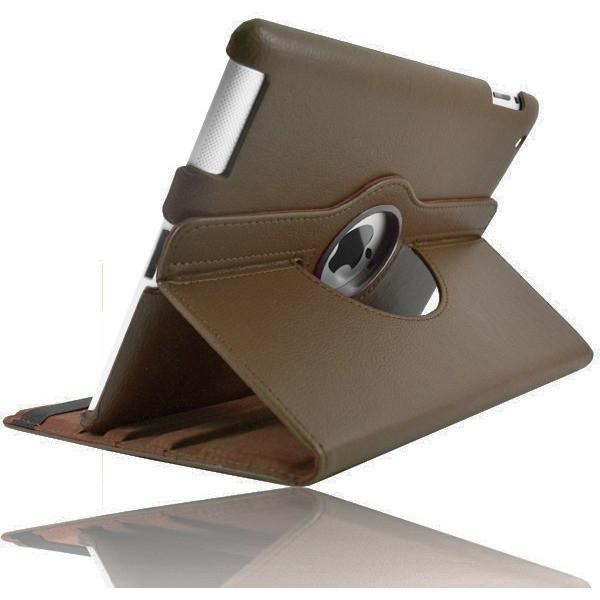 Brown Leather 360 Degree Rotating Case Stand For Ipad 2 3 4