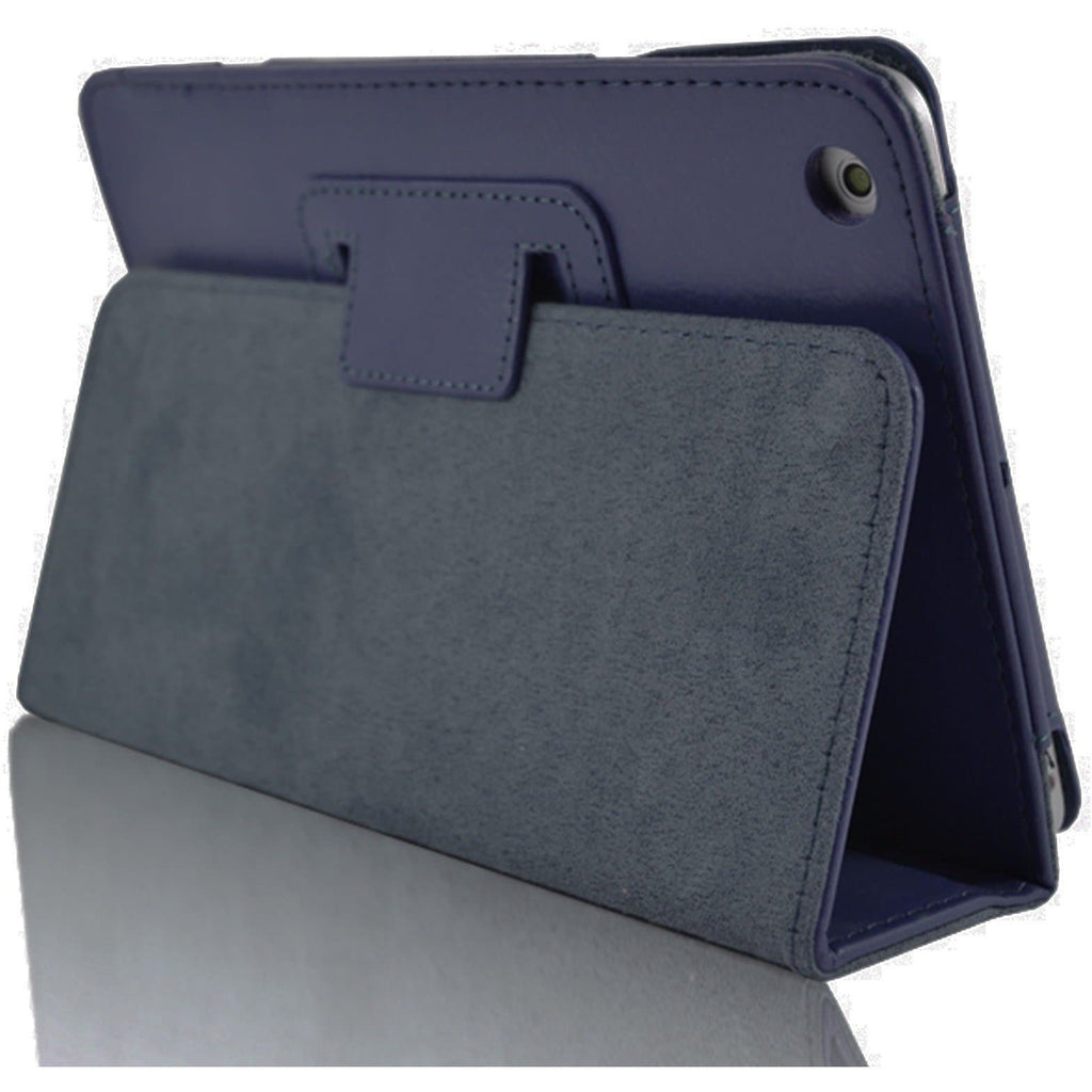 iPad Mini 1 / 2 / 3 - Flip Stand Protective Leather Case - Dark Blue