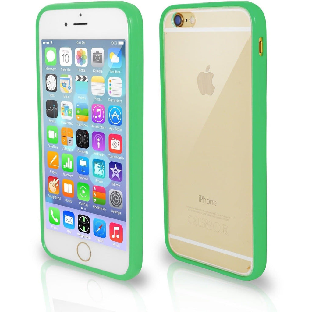 iPhone 7- Bumper Clear Back Silicone Case - Green