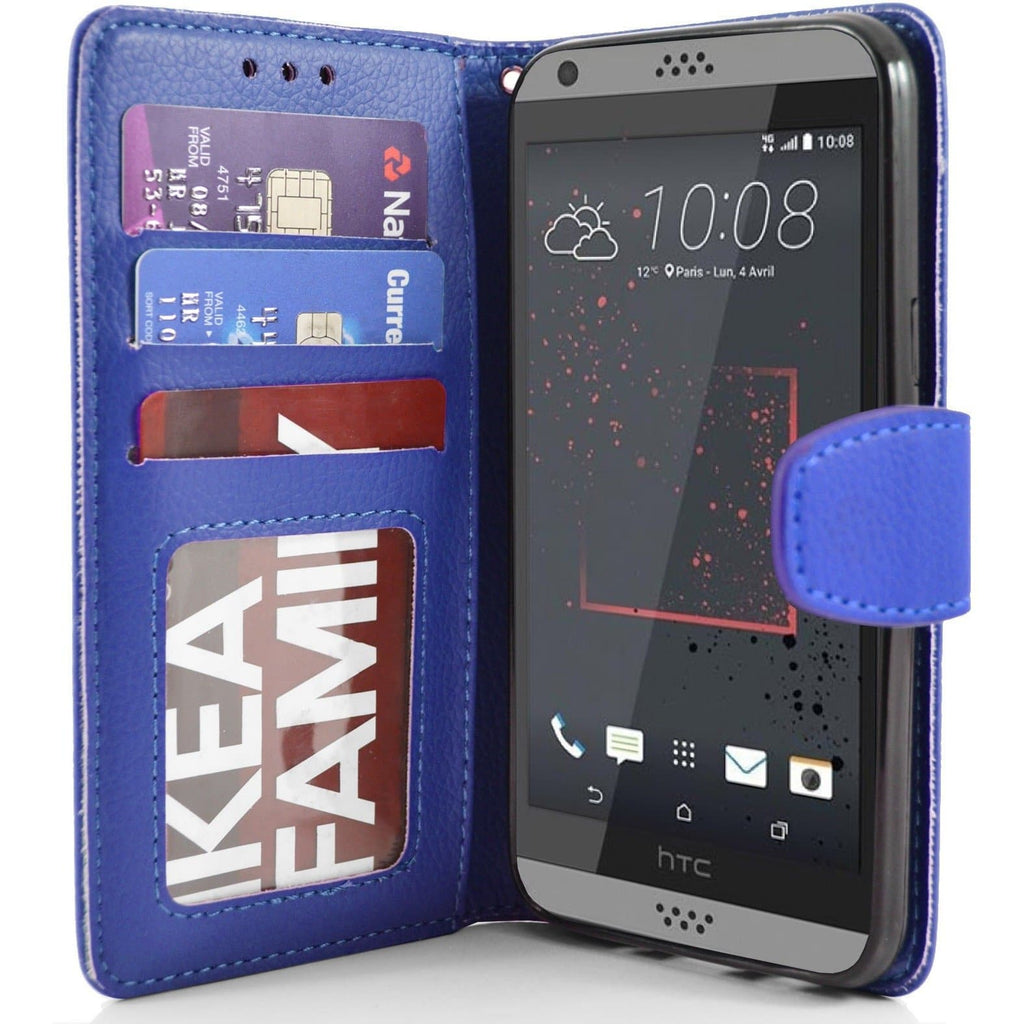 HTC Desire 630 - PU Leather Wallet Case - Blue