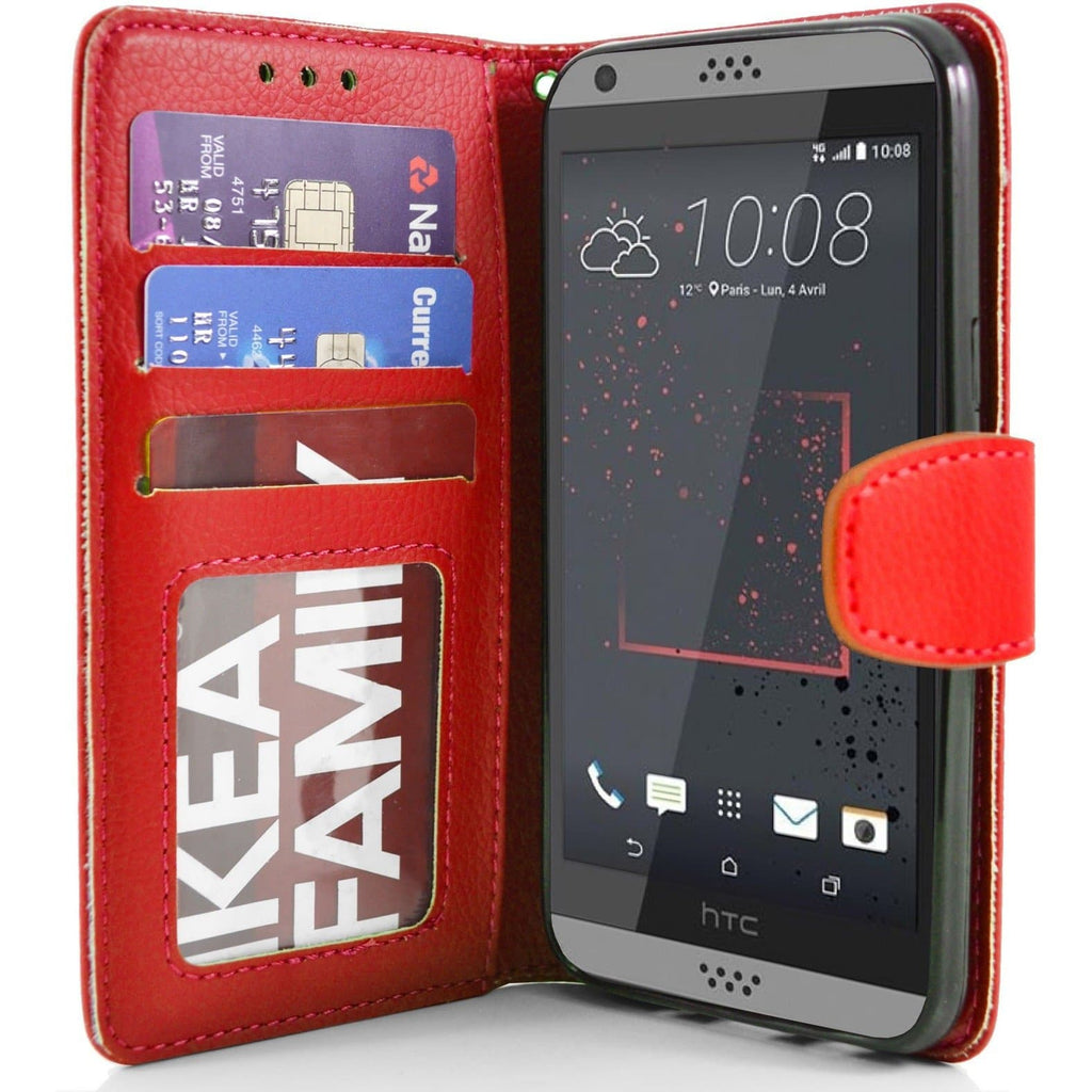 HTC Desire 630 PU Leather Wallet Case - Red