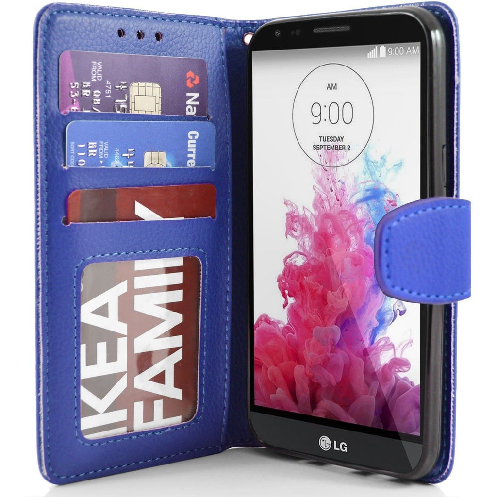 LG G4 Stylus PU Leather Wallet Case - Blue