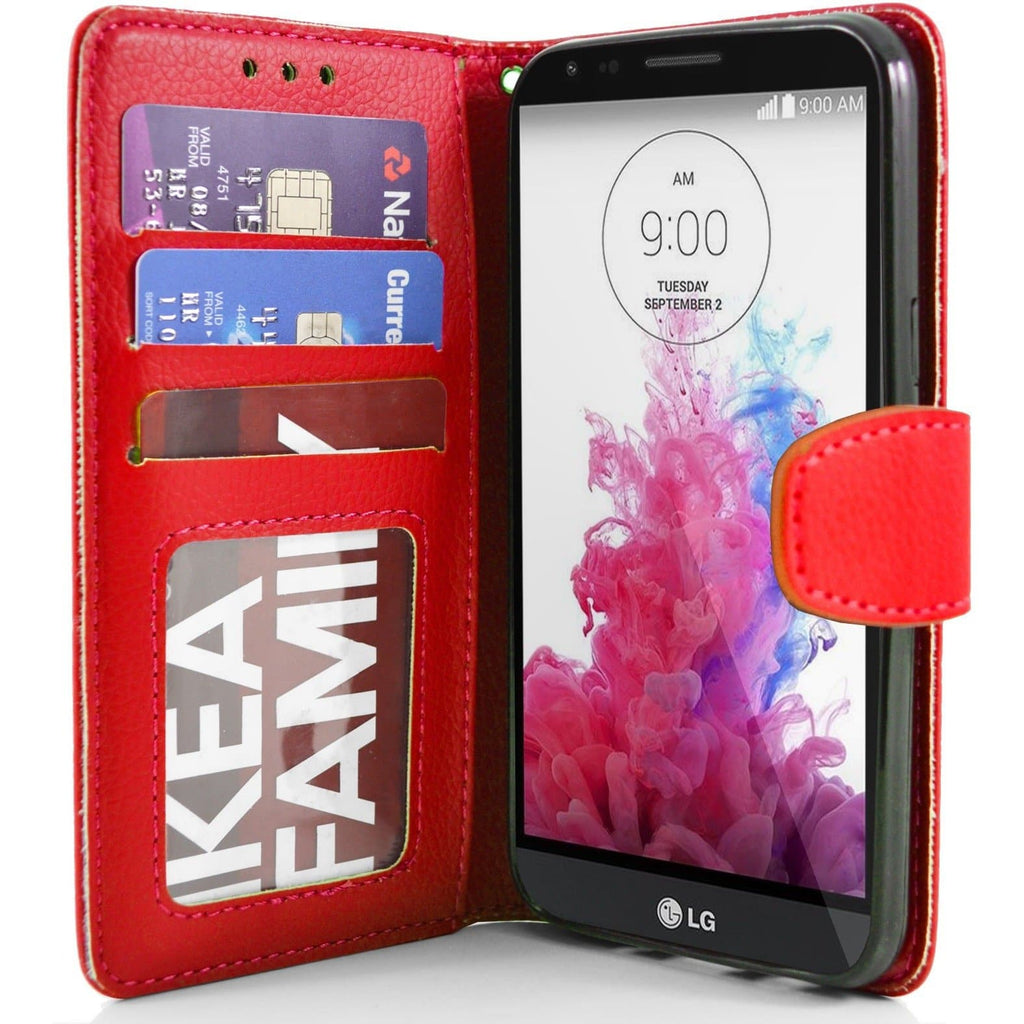 LG G4 Stylus PU Leather Wallet Case - Red