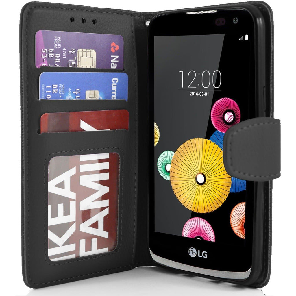 LG K4 PU Leather Wallet Case - Black
