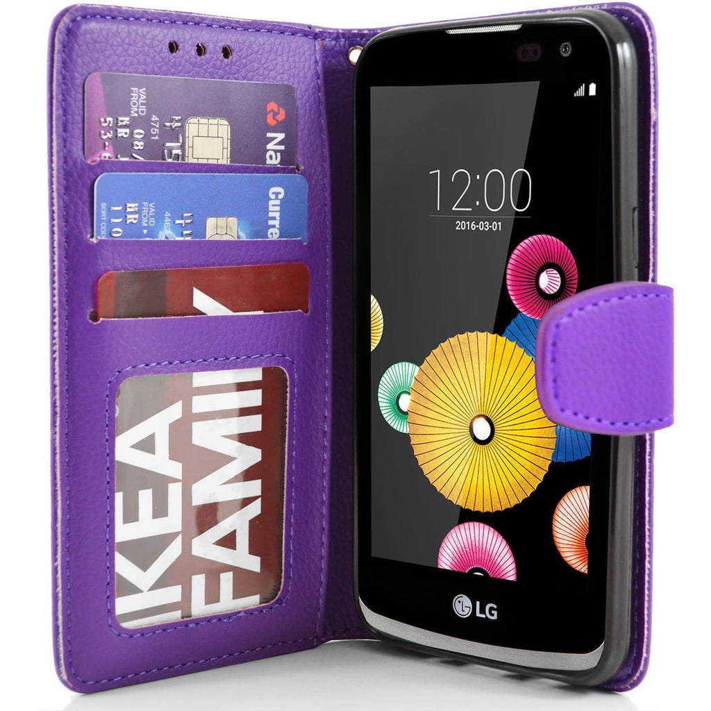LG K4 PU Leather Wallet Case - Purple