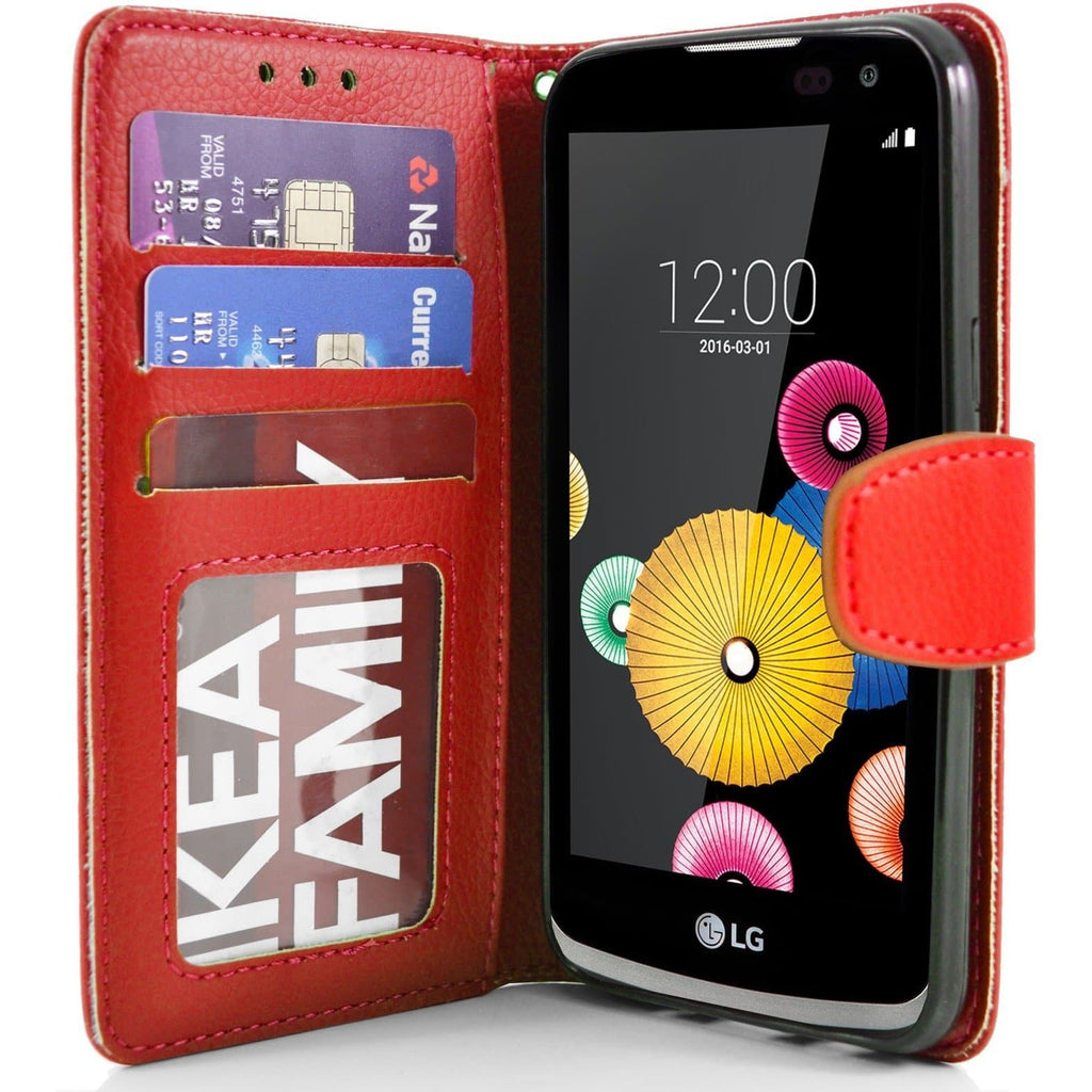 LG K4 PU Leather Wallet Case - Red