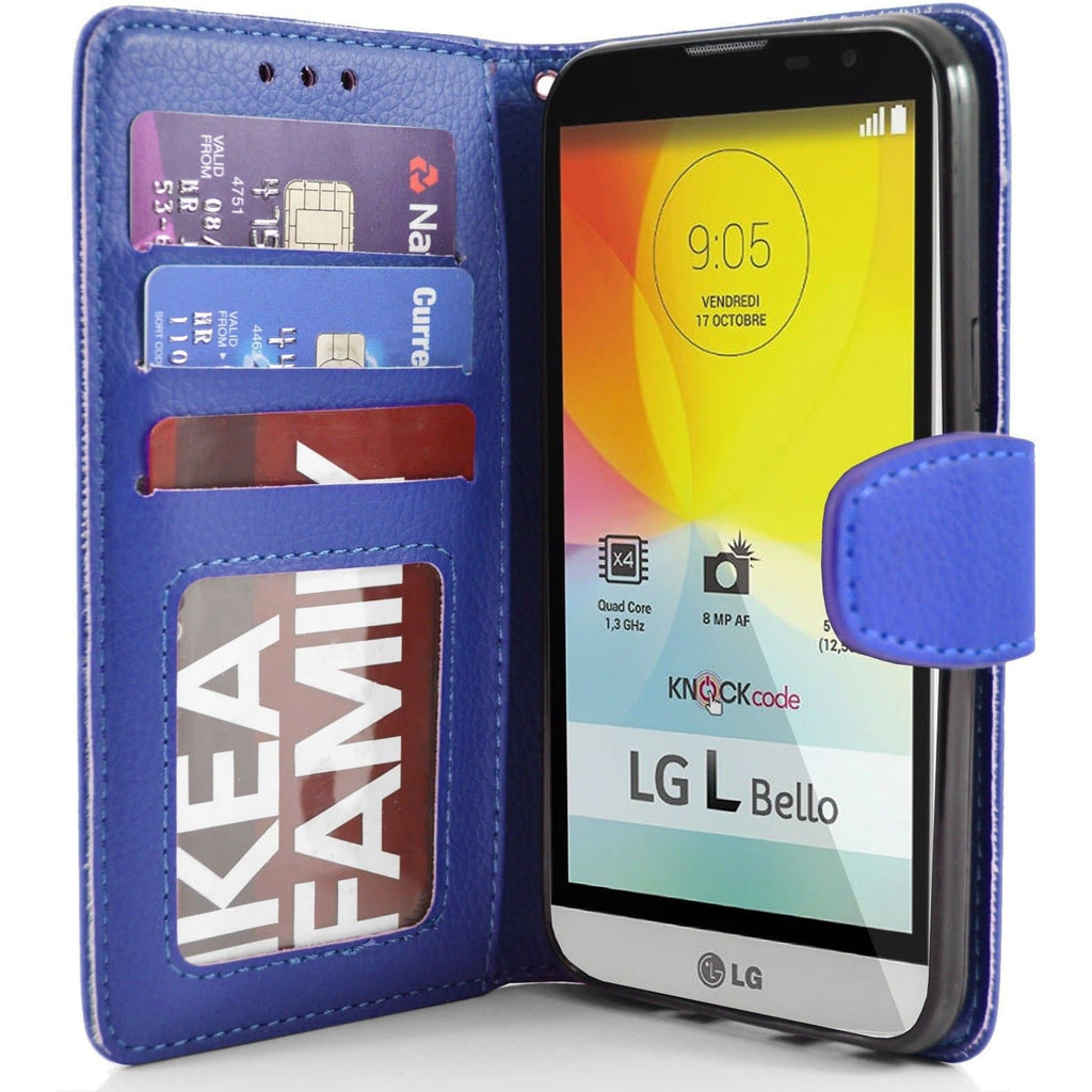 LG L Bello PU Leather Wallet Case - Blue