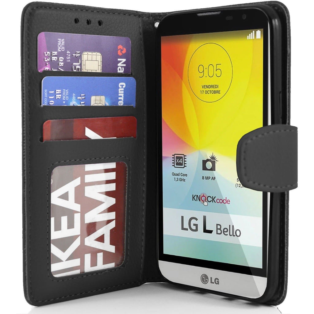LG L Bello PU Leather Wallet Case - Black