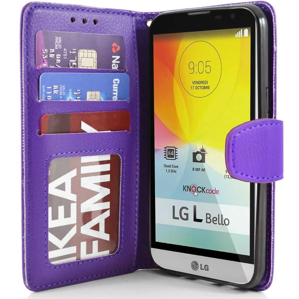 LG L Bello PU Leather Wallet Case - Purple
