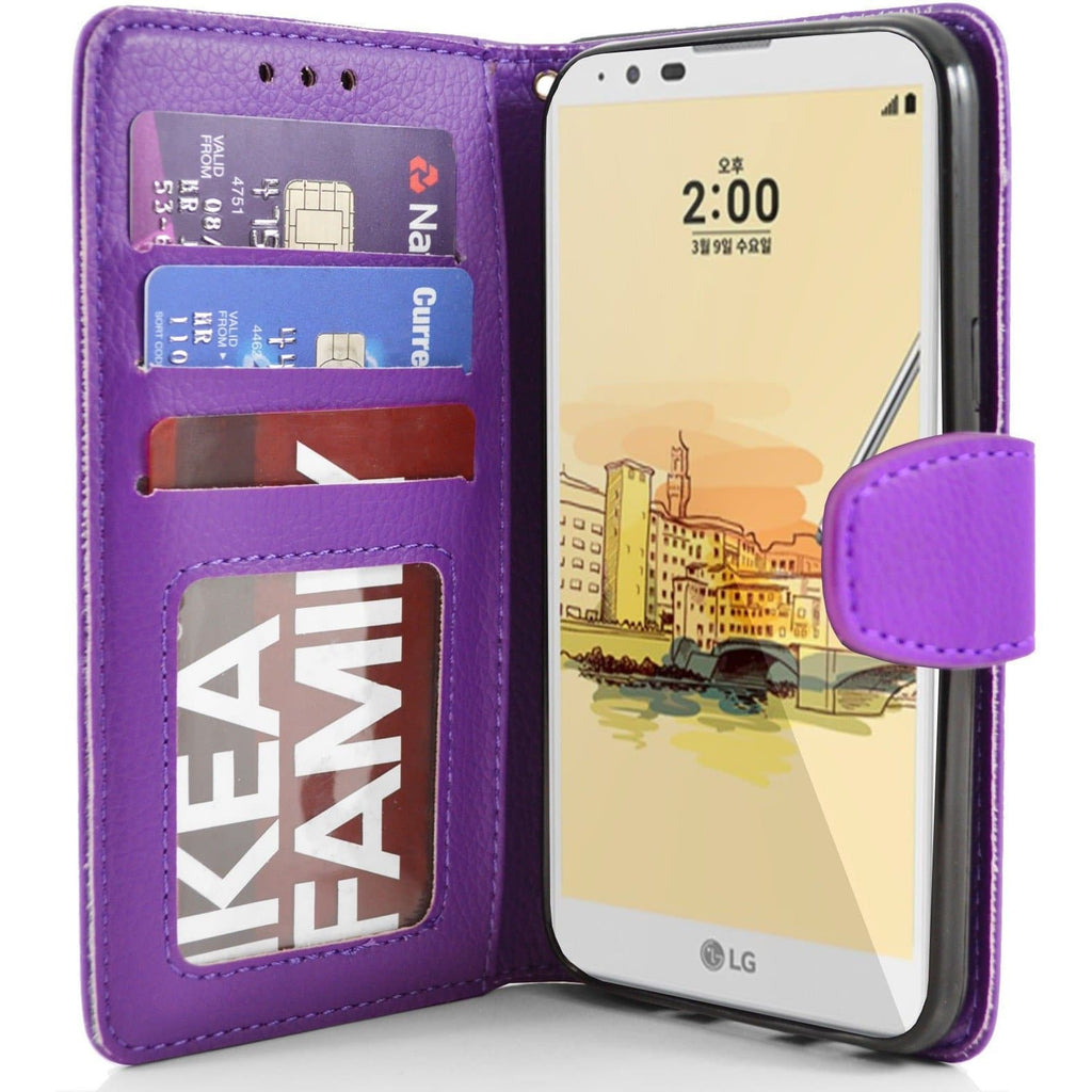 LG Stylus 2 PU Leather Wallet Case - Purple
