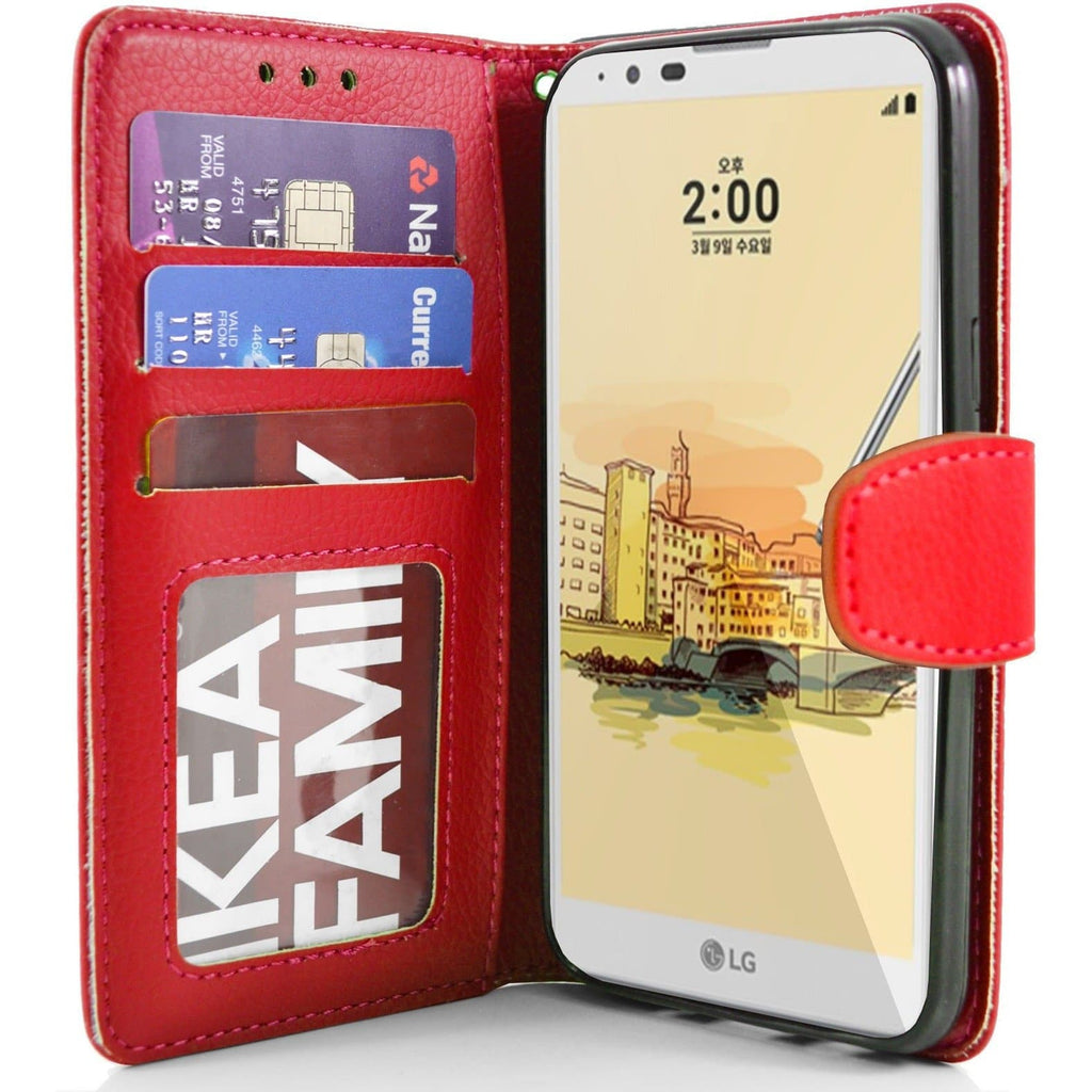LG Stylus 2 PU Leather Wallet Case - Red