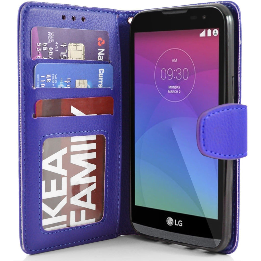 LG Leon PU Leather Wallet Case - Blue