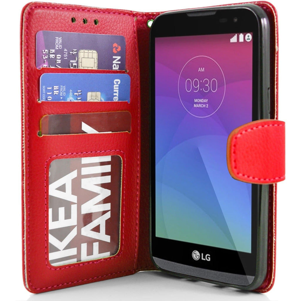 LG Leon PU Leather Wallet Case - Red