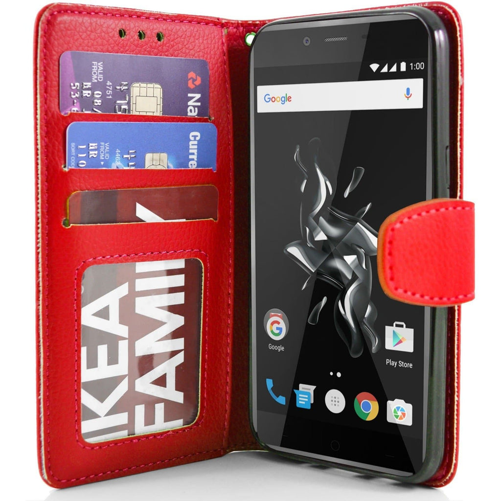 OnePlus X PU Leather Wallet Case - Red