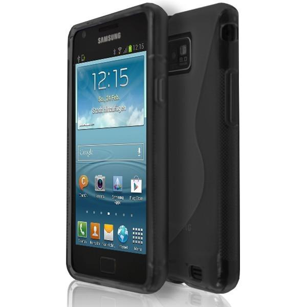 Samsung Galaxy S2 I9100 - Black S Line Gel Silicone Rubber Case Cover