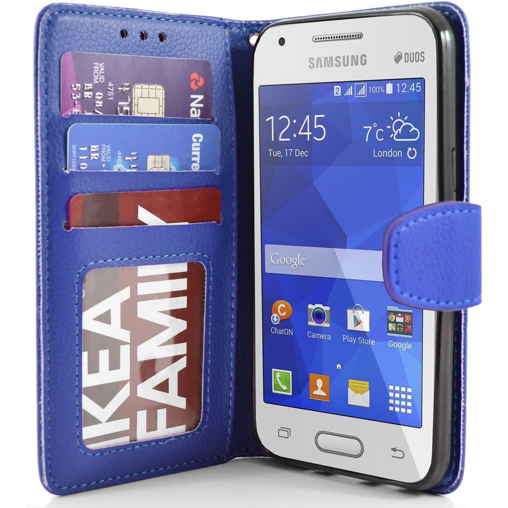 Samsung Galaxy Ace 4 PU Leather Wallet Case - Blue