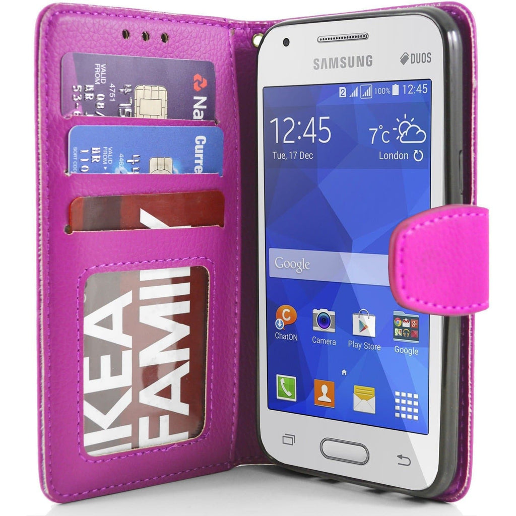 Samsung Galaxy Ace 4 PU Leather Wallet Case - Pink