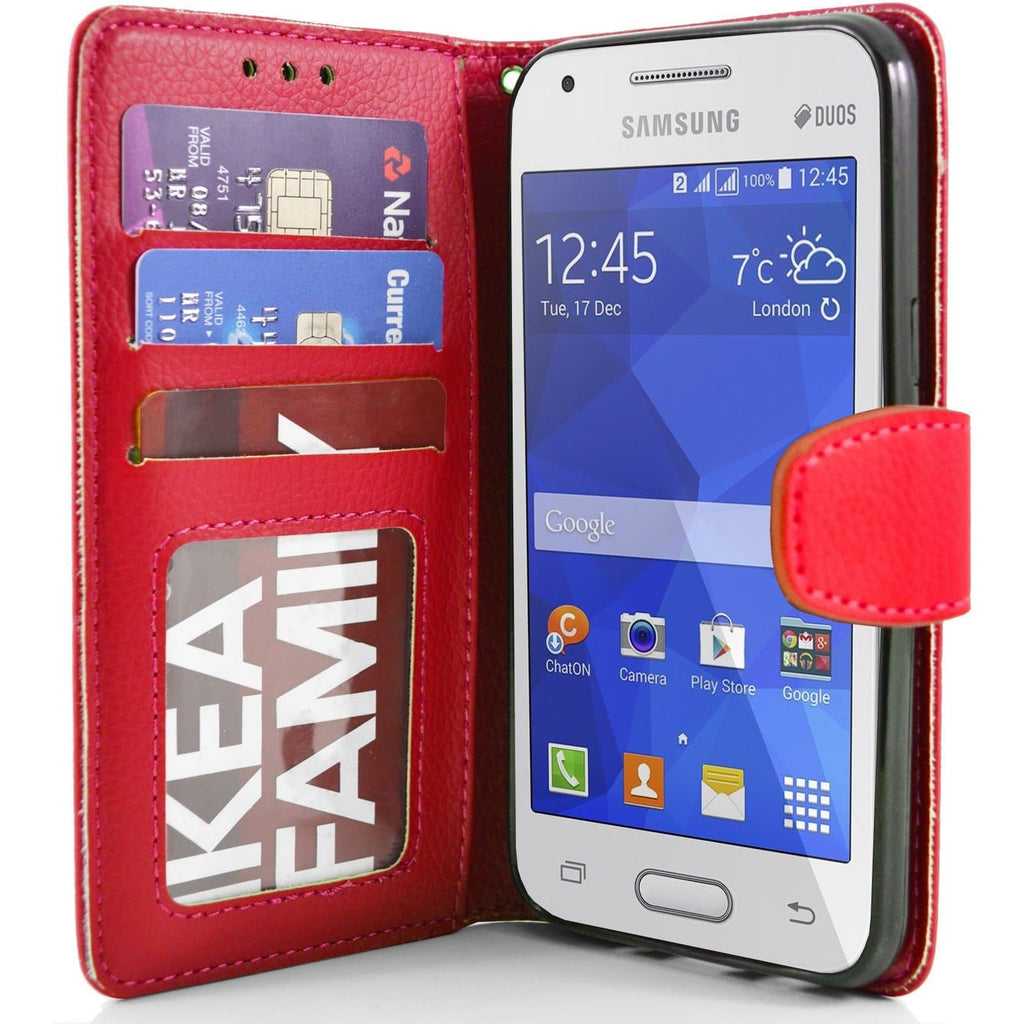 Samsung Galaxy Ace 4 PU Leather Wallet Case - Red