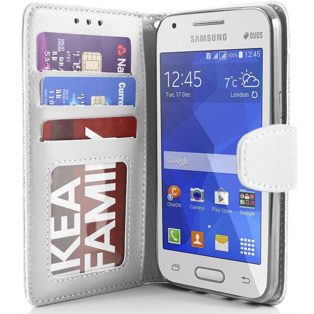 Samsung Galaxy Ace 4 PU Leather Wallet Case Cover - White