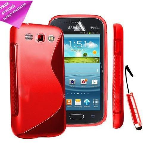 Red S Line Gel Silicone Rubber Case Cover Samsung Galaxy Ace 3 S7272