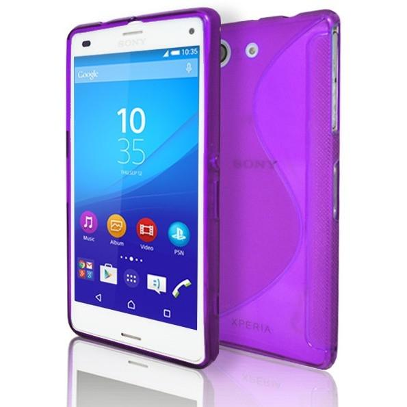 Sony Xperia Z3 Compact - Purple S Line Gel Silicone Rubber Case Cover