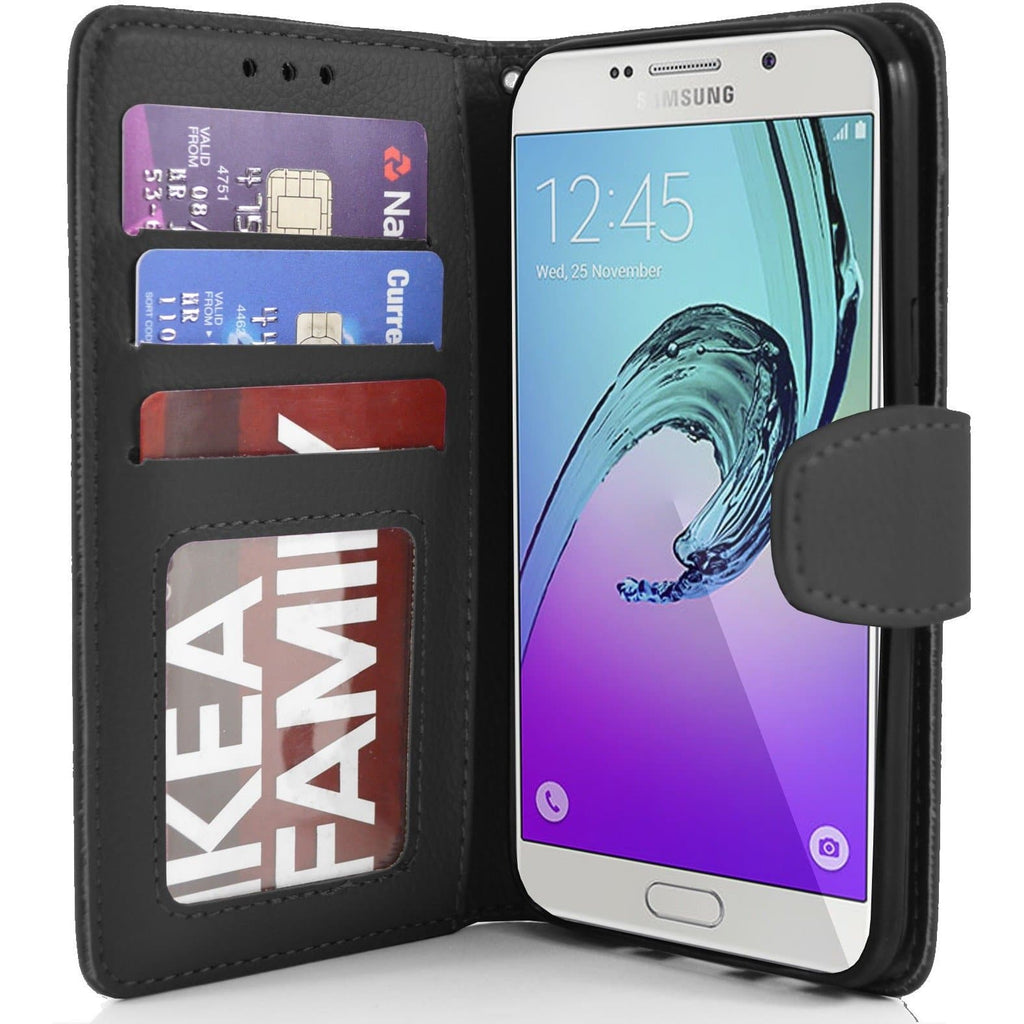 Samsung Galaxy A7 PU Leather Wallet Case - Black