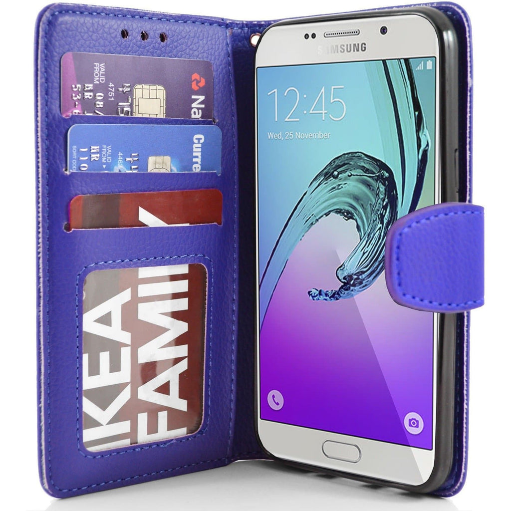 Samsung Galaxy A7 PU Leather Wallet Case - Blue