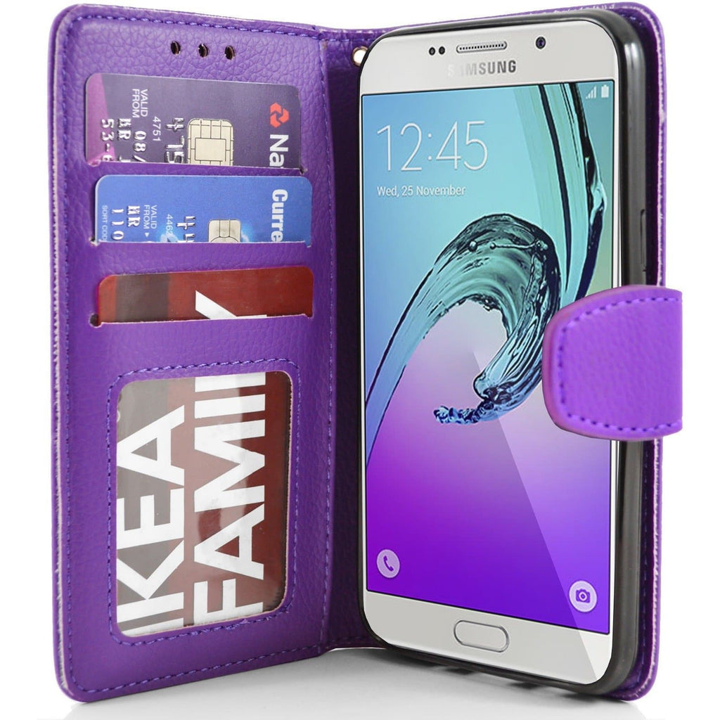 Samsung Galaxy A7 PU Leather Wallet Case - Purple