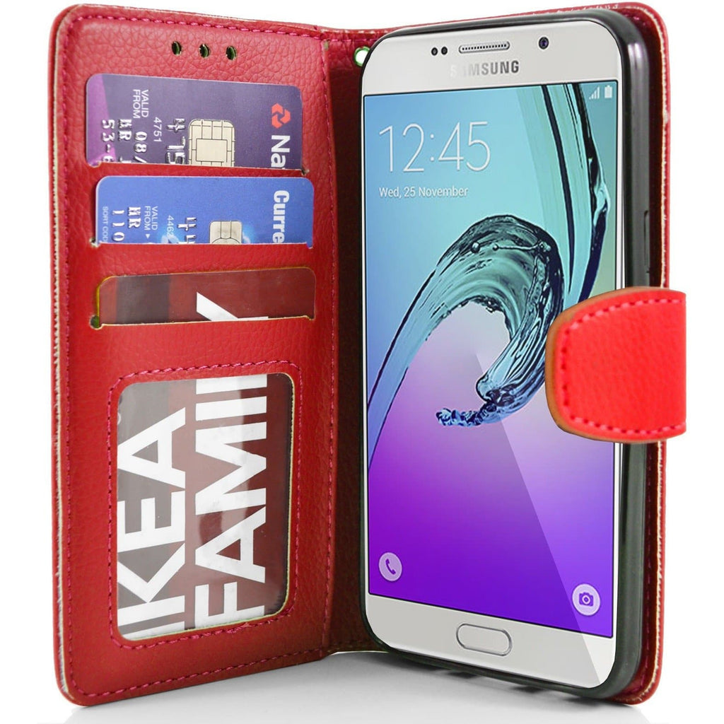 Samsung Galaxy A7 PU Leather Wallet Case - Red