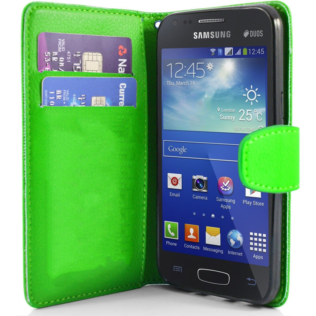 Green Pu Flip Wallet Leather Case For Samsung Galaxy Ace 3 S7272