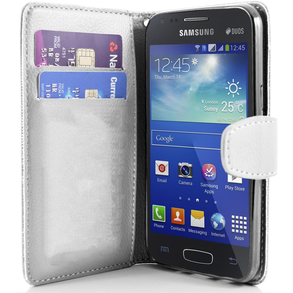 White Pu Flip Wallet Leather Case For Samsung Galaxy Ace 3 S7272