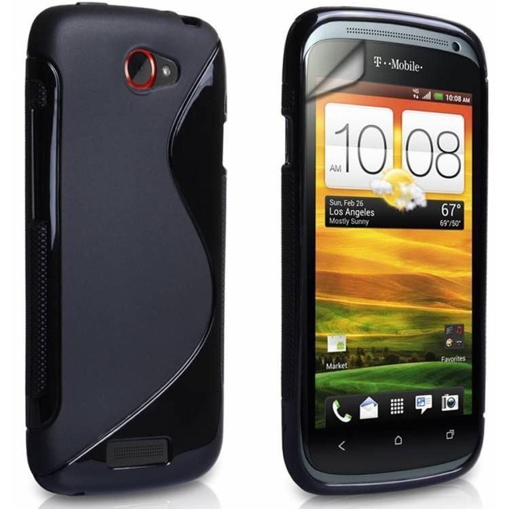 HTC One V - S Line Silicone Rubber Case Cover - Black