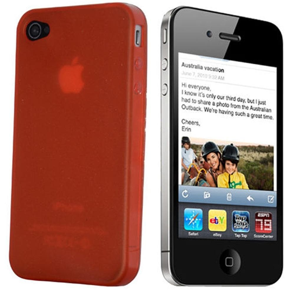 Red Gloss Gel Silicone Case Cover For iPhone 4 / 4S