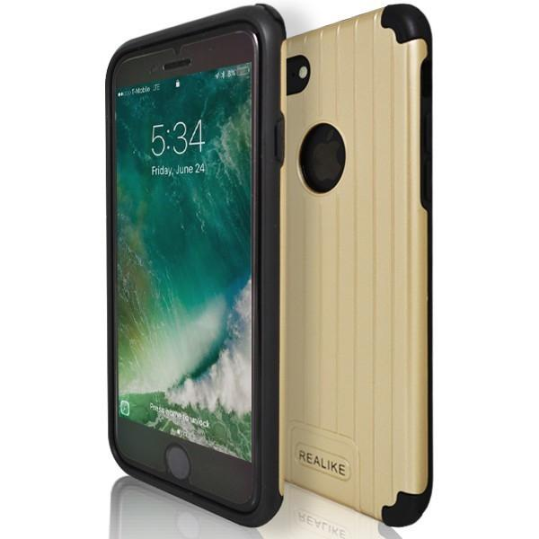 iPhone 7 Plus- Shock Proof Silicone Hard Protective Armour Case - Gold