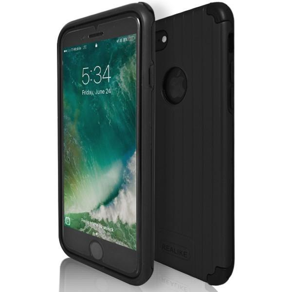 iPhone 7 Plus- Shock Proof Silicone Hard Protective Armour Case - Black